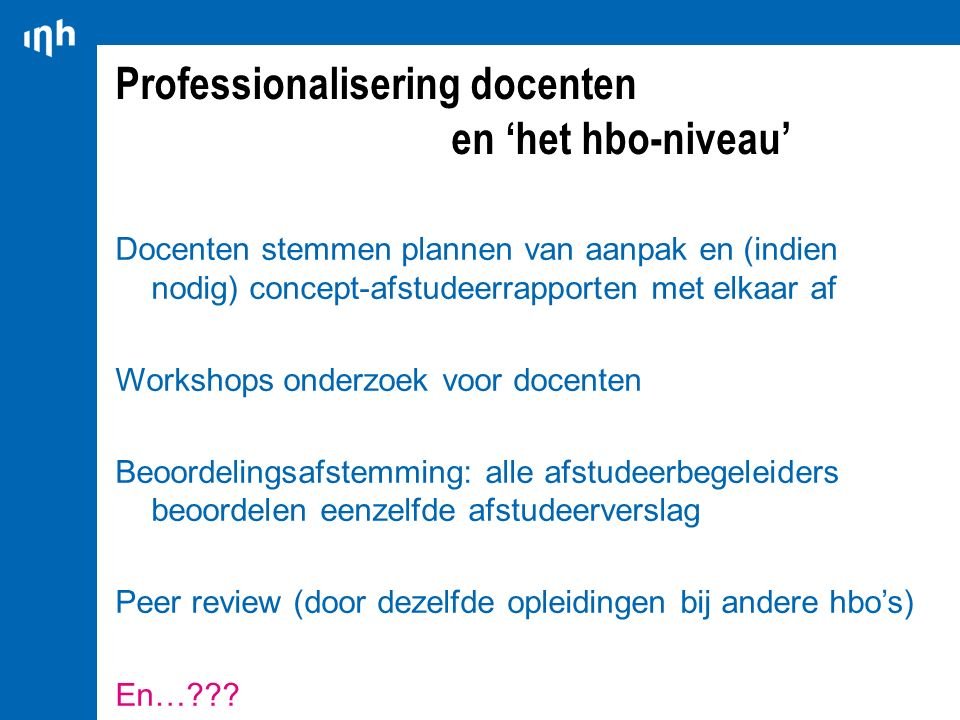 Professionalisering docenten en 'het hbo-niveau'