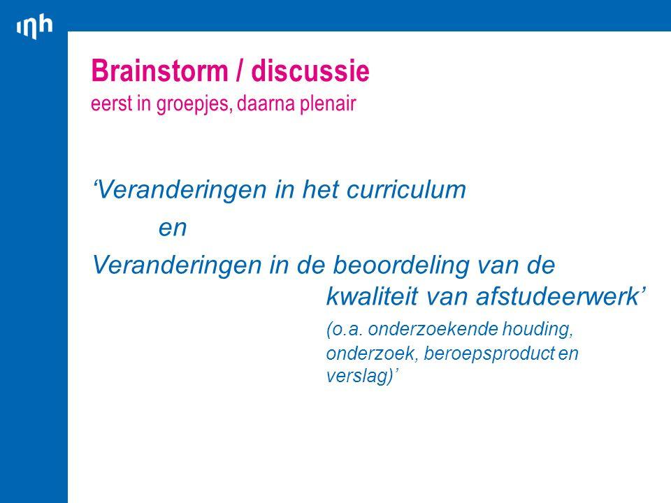 Brainstorm / discussie eerst in groepjes, daarna plenair