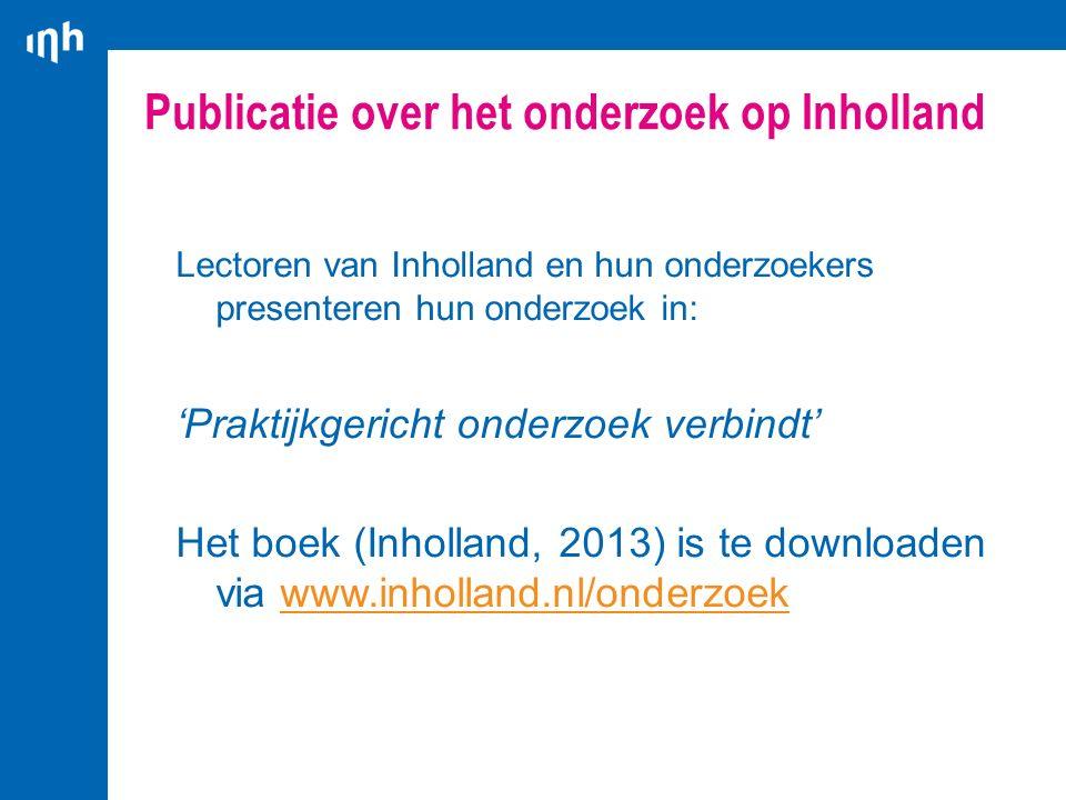 Publicatie over het onderzoek op Inholland