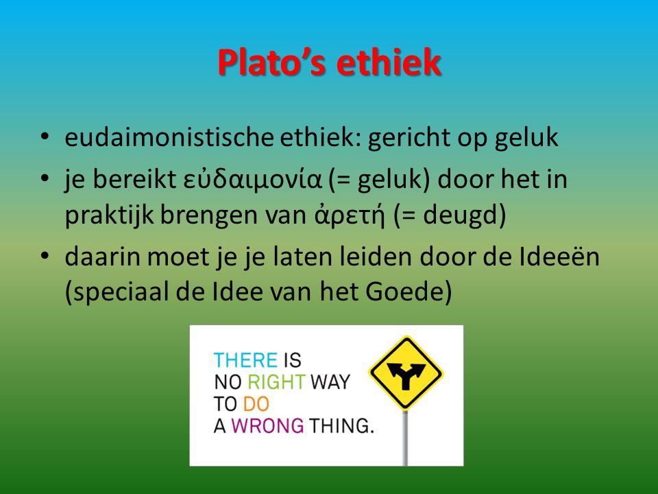 Plato's ethiek eudaimonistische ethiek: gericht op geluk
