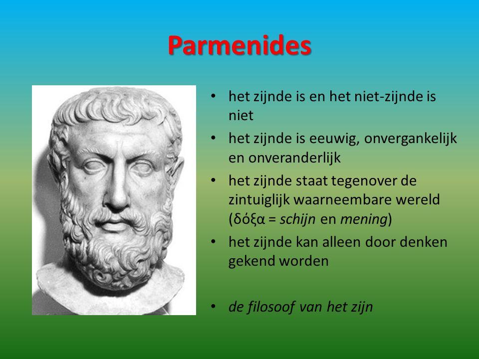 Parmenides het zijnde is en het niet-zijnde is niet