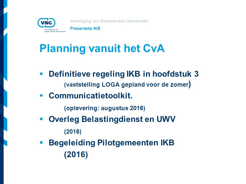 Planning vanuit het CvA