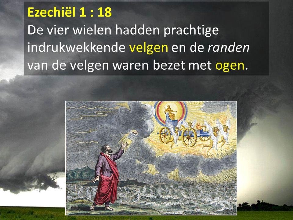 Ezechiël 1 : 18 De vier wielen hadden prachtige indrukwekkende velgen en de randen van de velgen waren bezet met ogen.