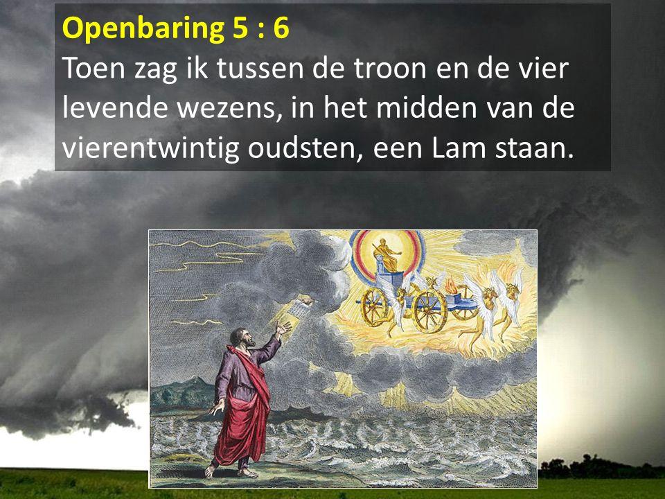 Openbaring 5 : 6 Toen zag ik tussen de troon en de vier levende wezens, in het midden van de vierentwintig oudsten, een Lam staan.