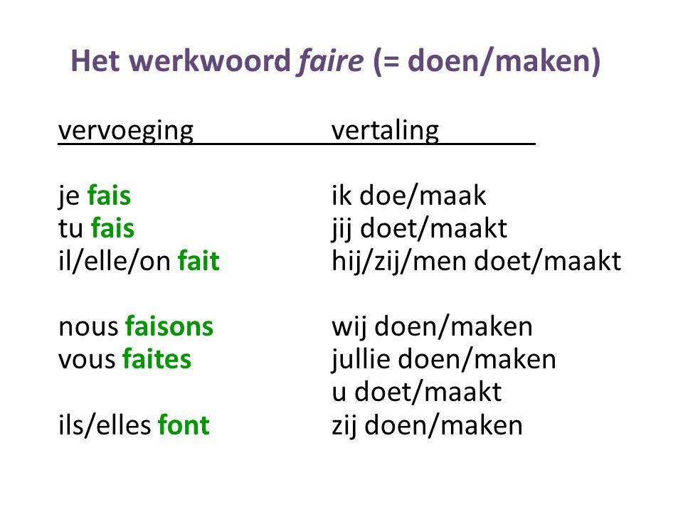 Het werkwoord faire (= doen/maken)