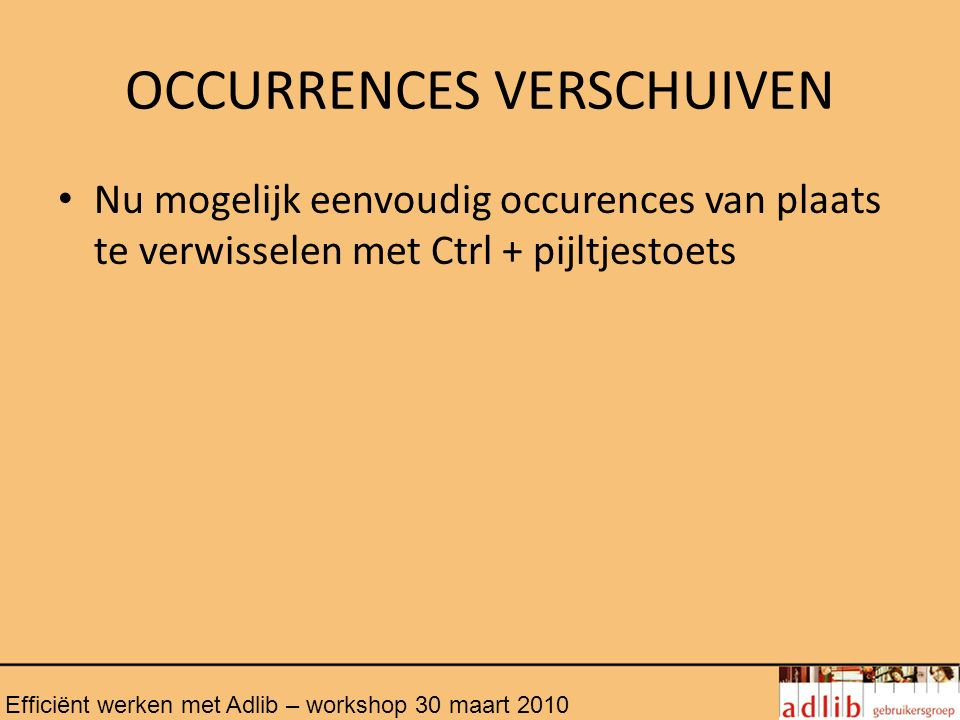 OCCURRENCES VERSCHUIVEN
