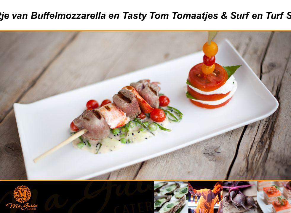 Torentje van Buffelmozzarella en Tasty Tom Tomaatjes & Surf en Turf Spiesje