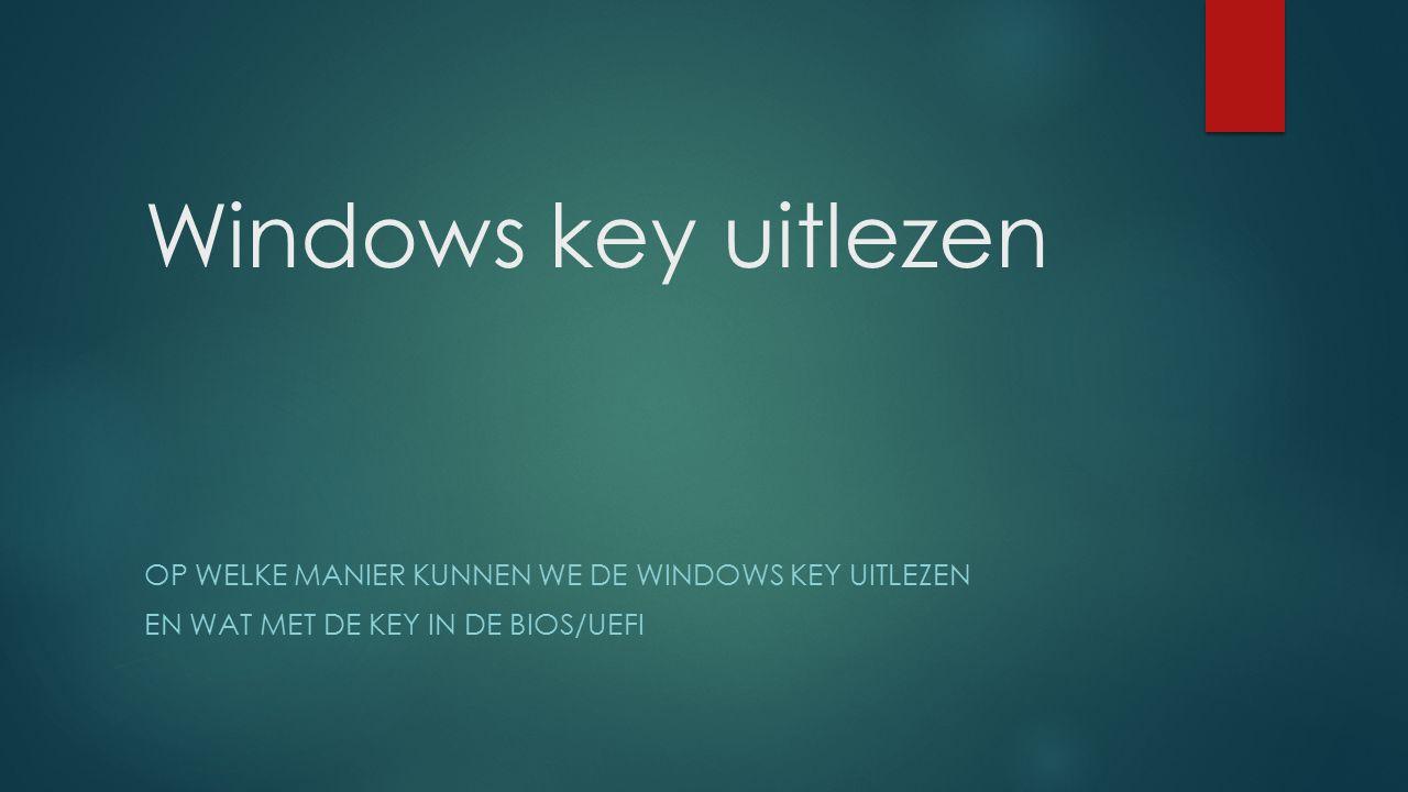 Windows key uitlezen Op welke manier kunnen we de windows key uitlezen