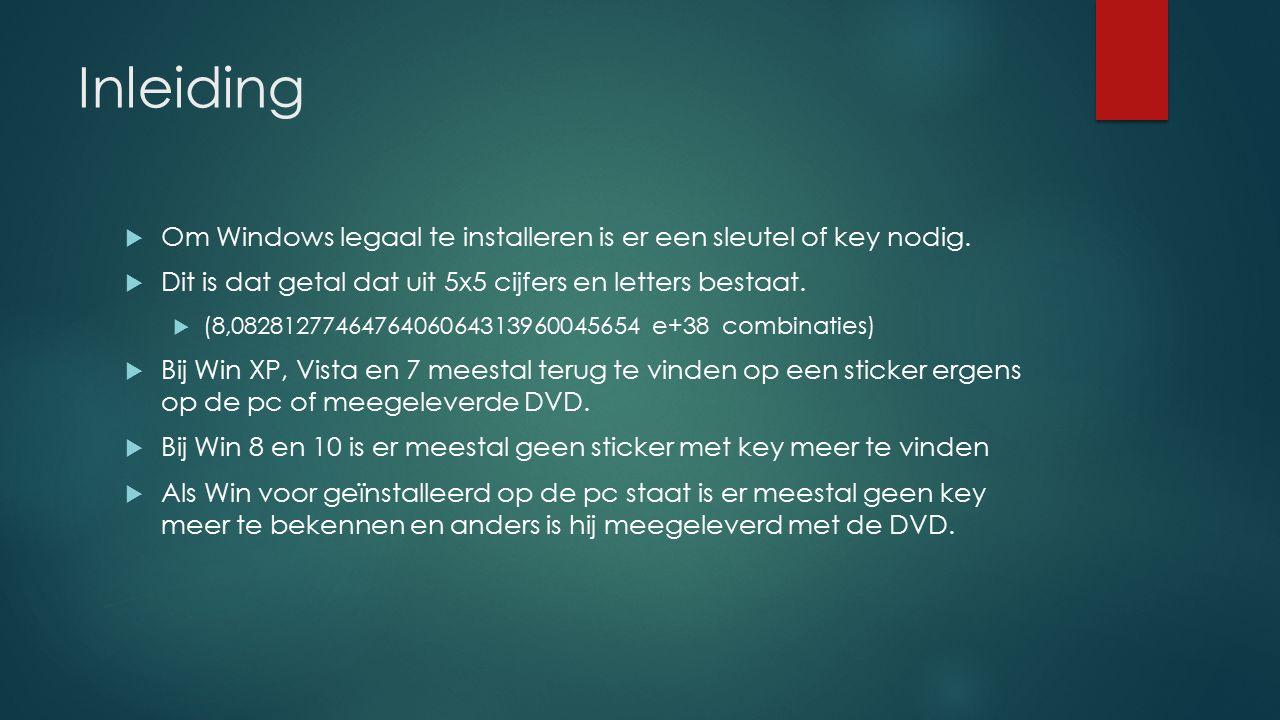 Inleiding Om Windows legaal te installeren is er een sleutel of key nodig. Dit is dat getal dat uit 5x5 cijfers en letters bestaat.