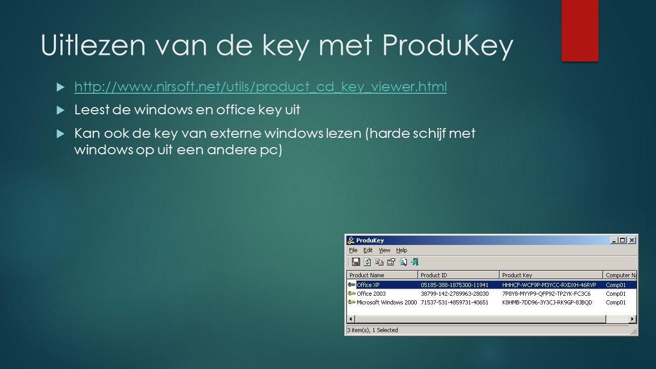 Uitlezen van de key met ProduKey