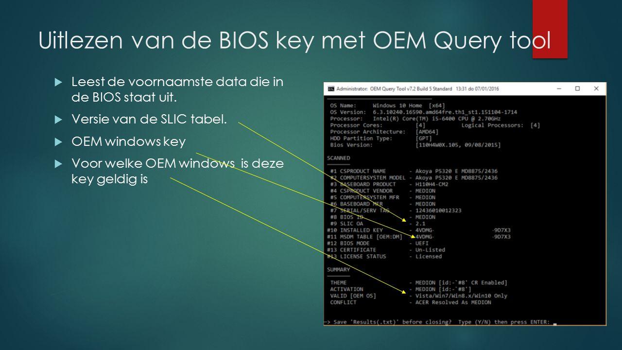 Uitlezen van de BIOS key met OEM Query tool