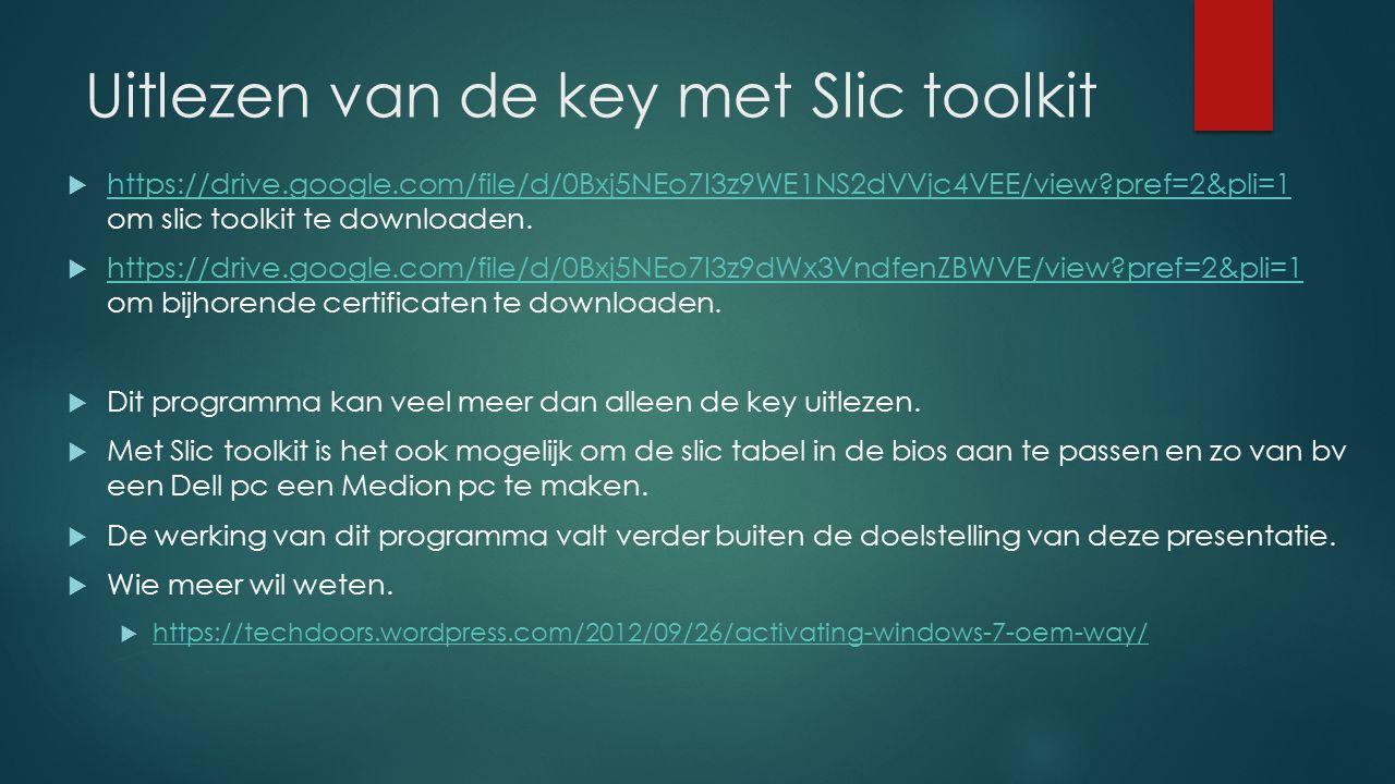 Uitlezen van de key met Slic toolkit