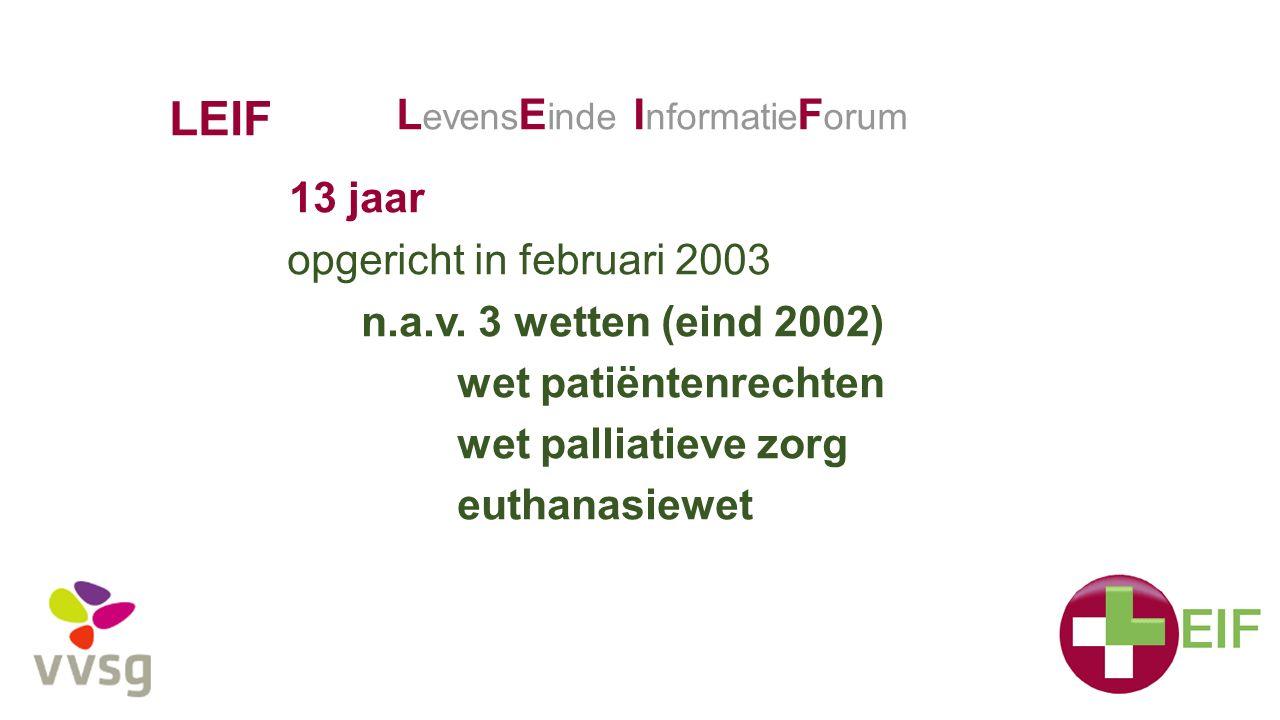 LEIF LevensEinde InformatieForum 13 jaar opgericht in februari 2003