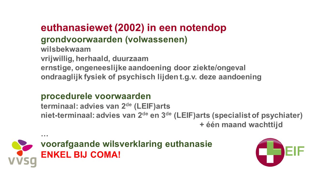 euthanasiewet (2002) in een notendop