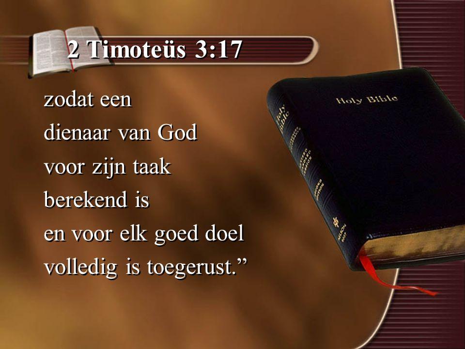 2 Timoteüs 3:17 zodat een dienaar van God voor zijn taak berekend is