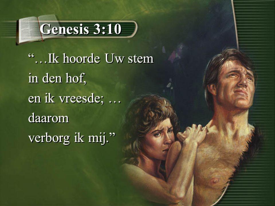 Genesis 3:10 …Ik hoorde Uw stem in den hof, en ik vreesde; … daarom