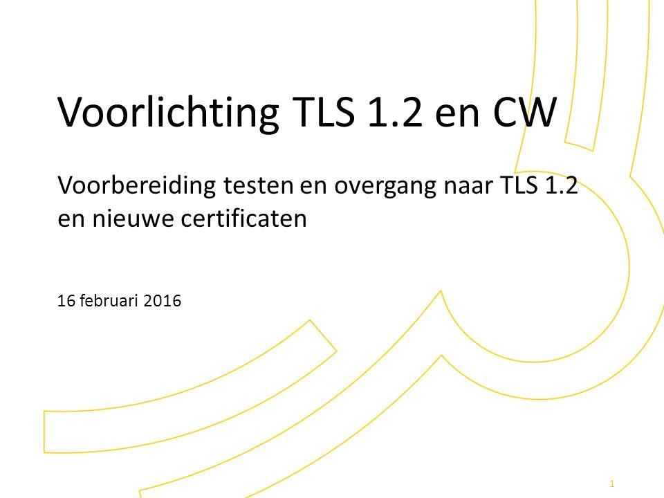 Voorbereiding testen en overgang naar TLS 1.2 en nieuwe certificaten