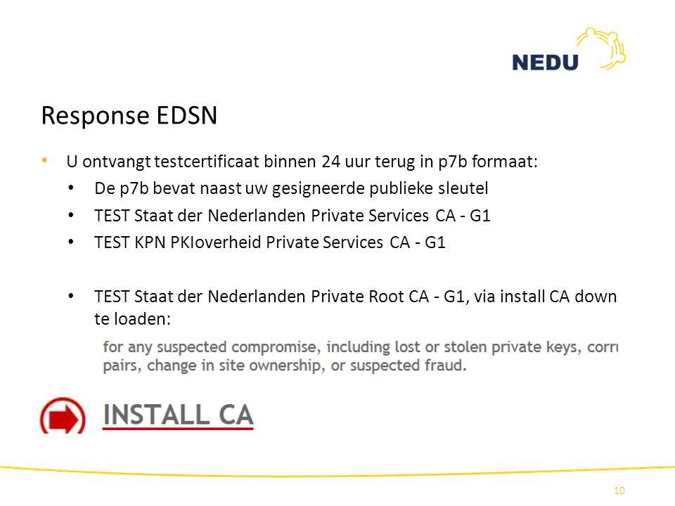 Response EDSN U ontvangt testcertificaat binnen 24 uur terug in p7b formaat: De p7b bevat naast uw gesigneerde publieke sleutel.