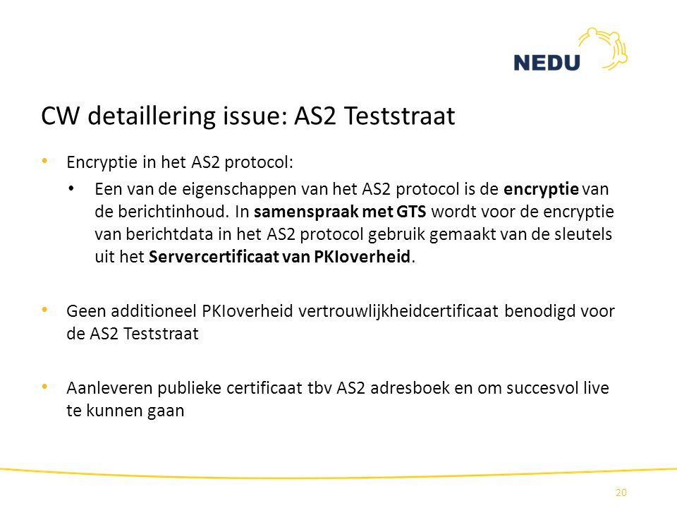 CW detaillering issue: AS2 Teststraat