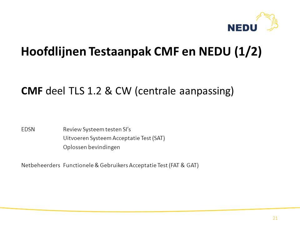 Hoofdlijnen Testaanpak CMF en NEDU (1/2)