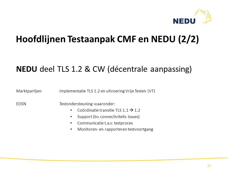 Hoofdlijnen Testaanpak CMF en NEDU (2/2)