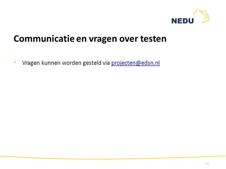 Communicatie en vragen over testen