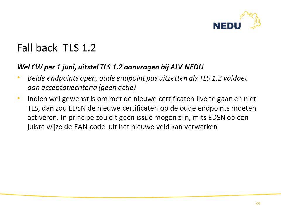 Fall back TLS 1.2 Wel CW per 1 juni, uitstel TLS 1.2 aanvragen bij ALV NEDU.
