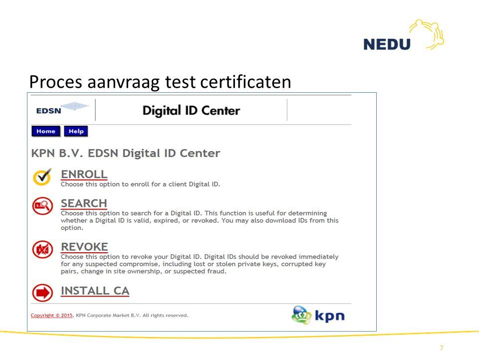 Proces aanvraag test certificaten