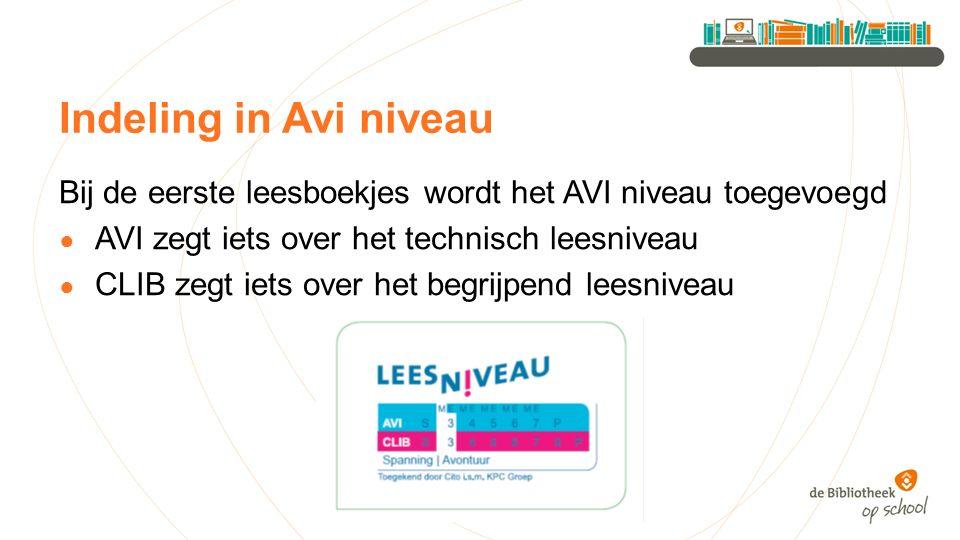 Indeling in Avi niveau Bij de eerste leesboekjes wordt het AVI niveau toegevoegd. AVI zegt iets over het technisch leesniveau.