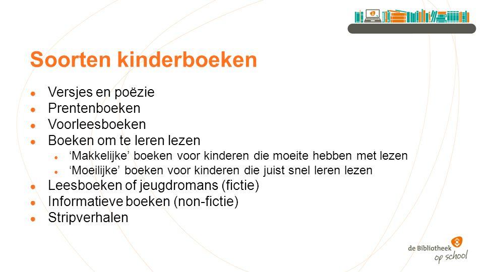 Soorten kinderboeken Versjes en poëzie Prentenboeken Voorleesboeken