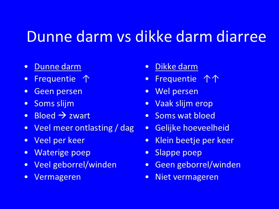 Dunne darm vs dikke darm diarree