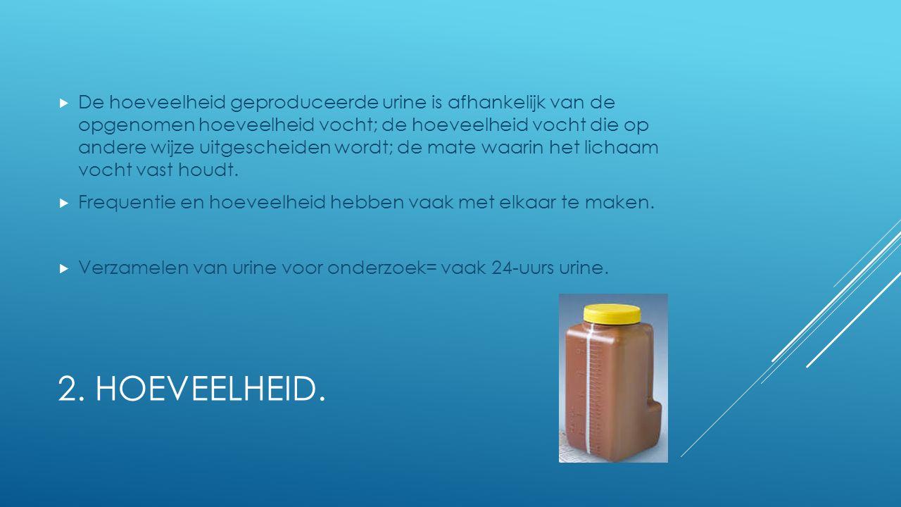 De hoeveelheid geproduceerde urine is afhankelijk van de opgenomen hoeveelheid vocht; de hoeveelheid vocht die op andere wijze uitgescheiden wordt; de mate waarin het lichaam vocht vast houdt.