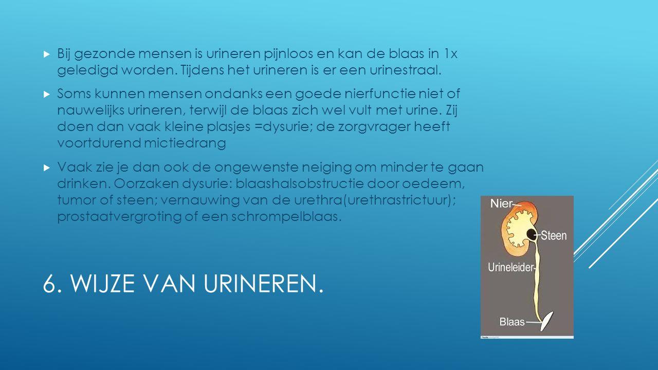 Bij gezonde mensen is urineren pijnloos en kan de blaas in 1x geledigd worden. Tijdens het urineren is er een urinestraal.