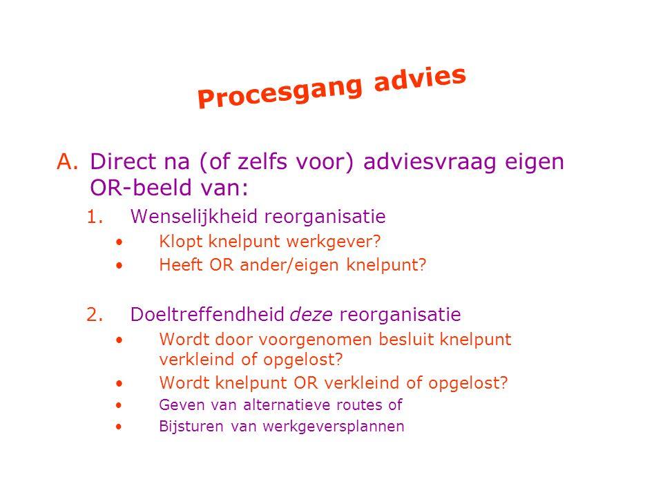 Procesgang advies Direct na (of zelfs voor) adviesvraag eigen OR-beeld van: Wenselijkheid reorganisatie.