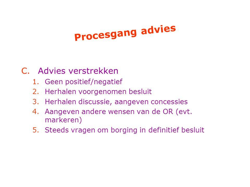 Procesgang advies Advies verstrekken Geen positief/negatief