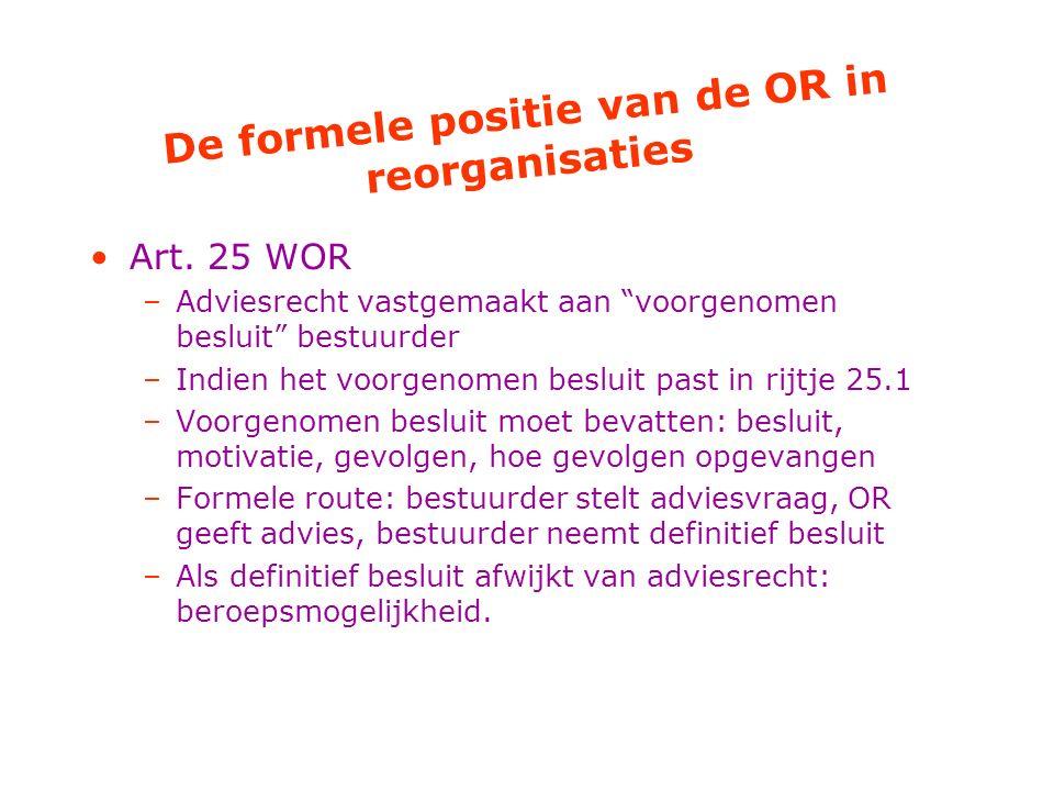 De formele positie van de OR in reorganisaties
