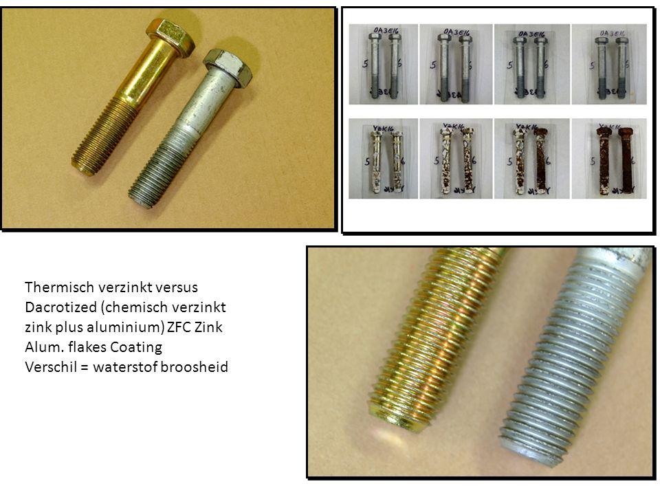Thermisch verzinkt versus Dacrotized (chemisch verzinkt zink plus aluminium) ZFC Zink