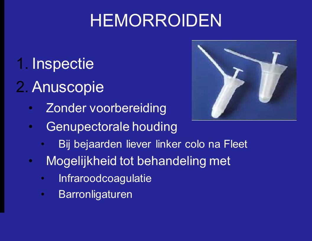 HEMORROIDEN Inspectie Anuscopie Zonder voorbereiding
