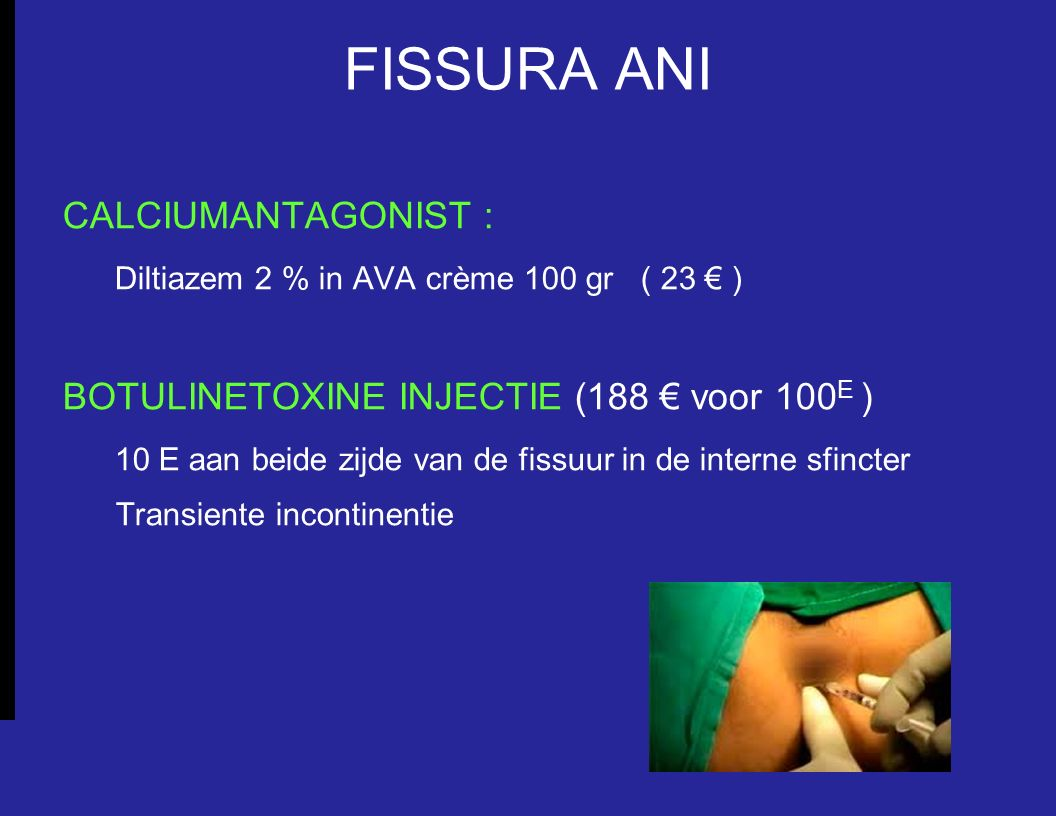 FISSURA ANI CALCIUMANTAGONIST :