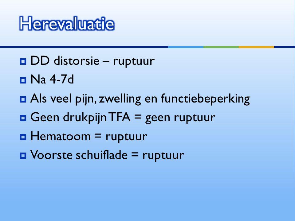 Herevaluatie DD distorsie – ruptuur Na 4-7d