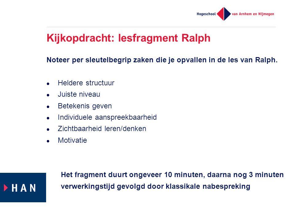 Kijkopdracht: lesfragment Ralph