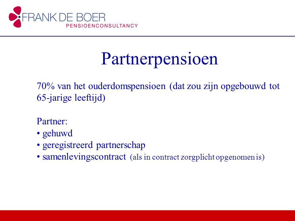 Partnerpensioen 70% van het ouderdomspensioen (dat zou zijn opgebouwd tot 65-jarige leeftijd) Partner: