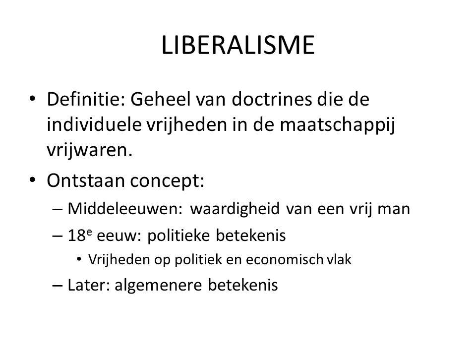 LIBERALISME Definitie: Geheel van doctrines die de individuele vrijheden in de maatschappij vrijwaren.