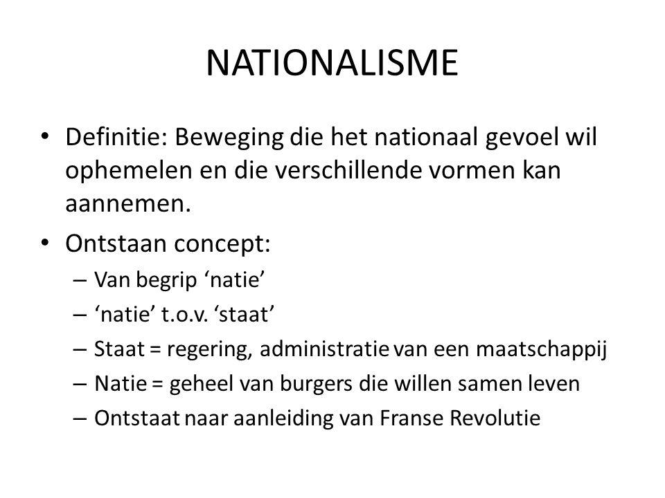NATIONALISME Definitie: Beweging die het nationaal gevoel wil ophemelen en die verschillende vormen kan aannemen.