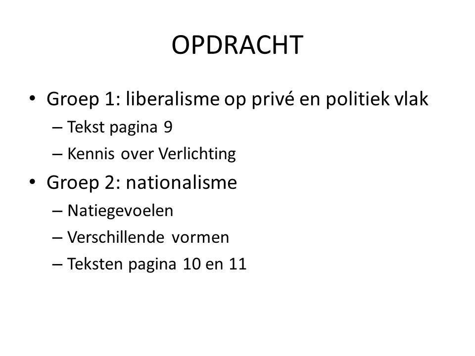 OPDRACHT Groep 1: liberalisme op privé en politiek vlak