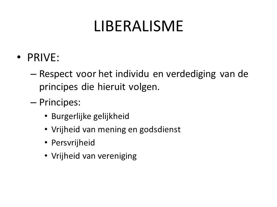 LIBERALISME PRIVE: Respect voor het individu en verdediging van de principes die hieruit volgen. Principes: