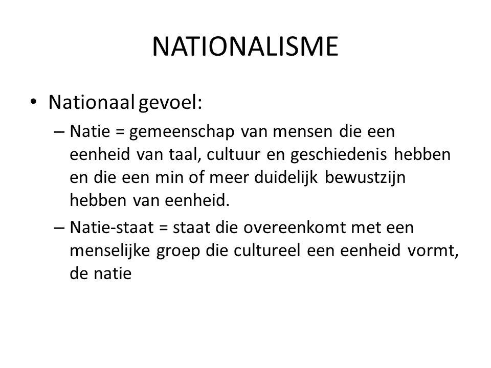 NATIONALISME Nationaal gevoel: