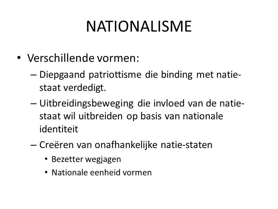 NATIONALISME Verschillende vormen: