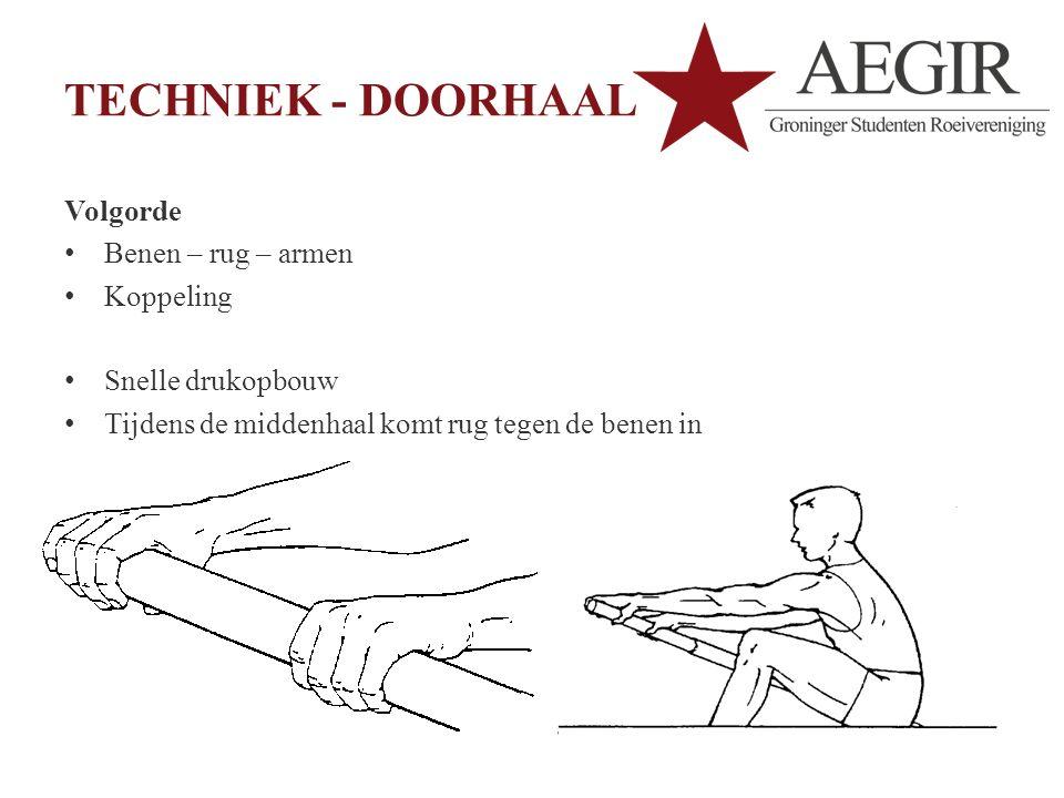 TECHNIEK - DOORHAAL Volgorde Benen – rug – armen Koppeling