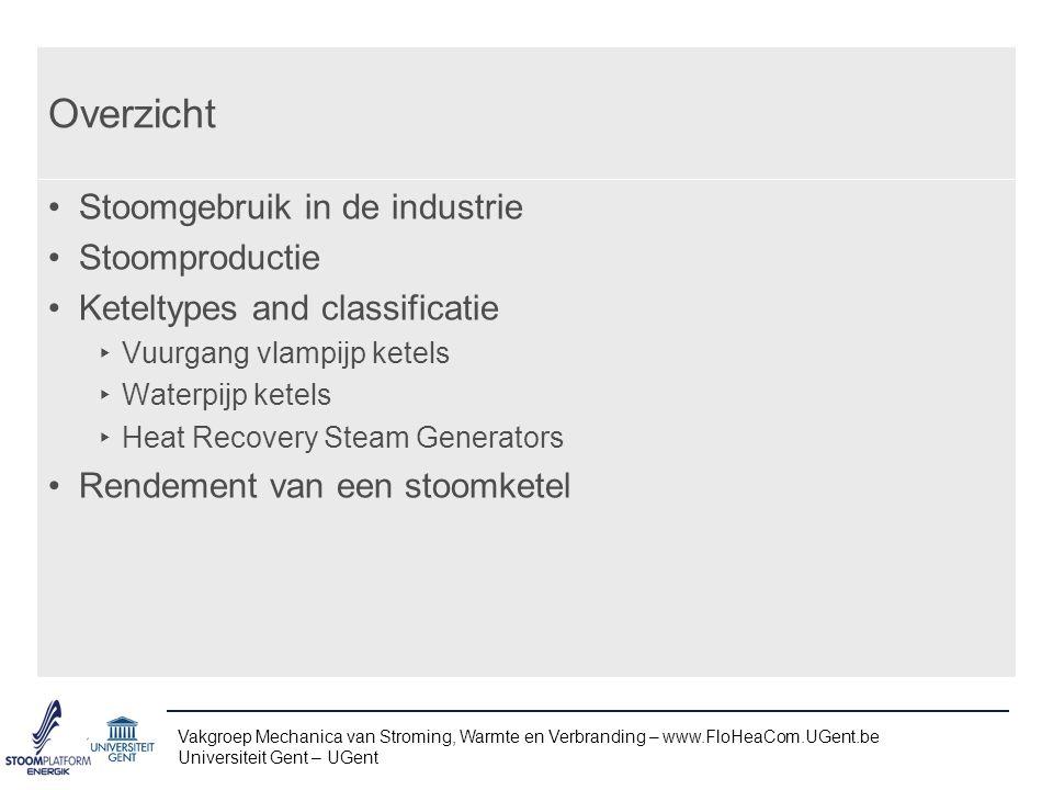 Overzicht Stoomgebruik in de industrie Stoomproductie
